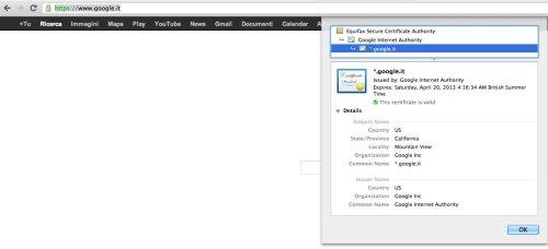 CA del certificato SSL installato su www.google.it