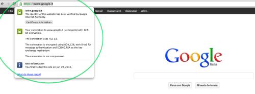 Google.it Protetto Da Un Certificato SSL