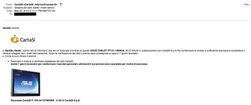 Il nuovo phishing con marchio CartaSì via e-mail
