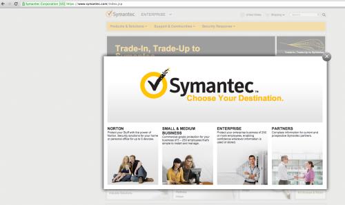 """Il sito web Symantec.com protetto da un certificato SSL EV """"Extendend Validation"""" con """"barra verde"""""""