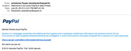 E-Mail Di Phishing Targata Paypal