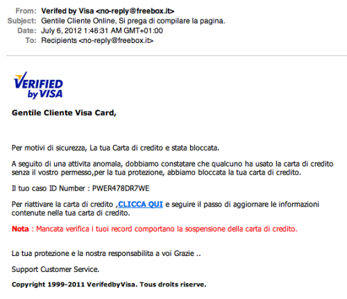 Secured By Visa, E-Mail Di Phishing