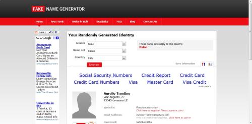 "Fake Name Generator, Una Miniera Di ""Fake Identities"""
