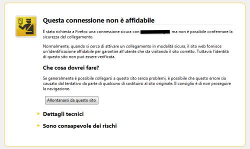 Esempio Di Certificato SSL Non Riconosciuto Su Mozilla Firefox